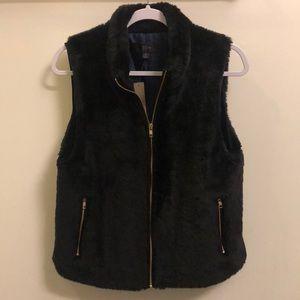 J Crew black fur vest NWT